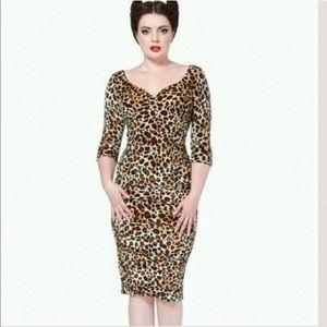 Voodoo Vixen velvet leopard pencil dress